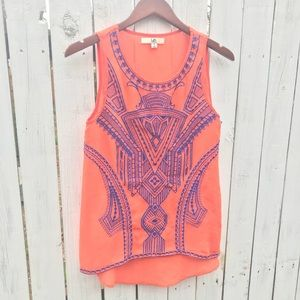 Sheer embroidered sleeveless top